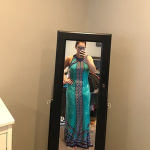 Bisou bisou green/teal maxi with pattern - nwt!